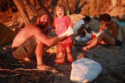 Rianala helping jacket fossils